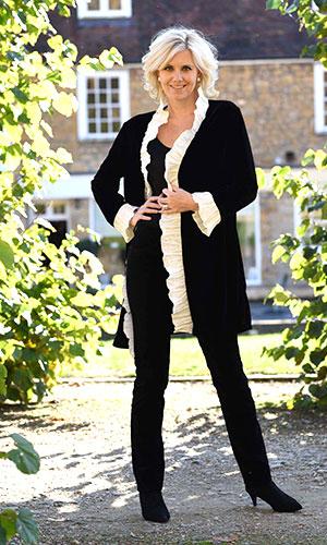 Black and White Velvet Jacket