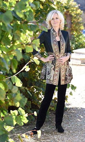 Black vintage silk kaftan jacket Perri Ashby