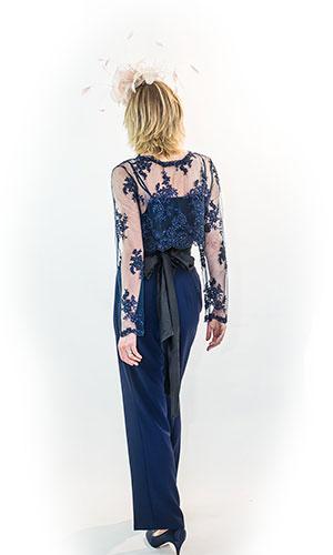 Blue lace pant suit