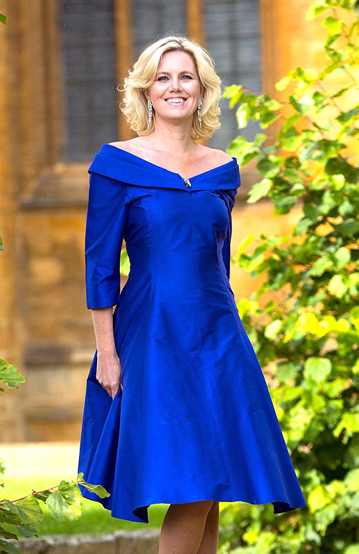 Blue silk mother of the bride dress