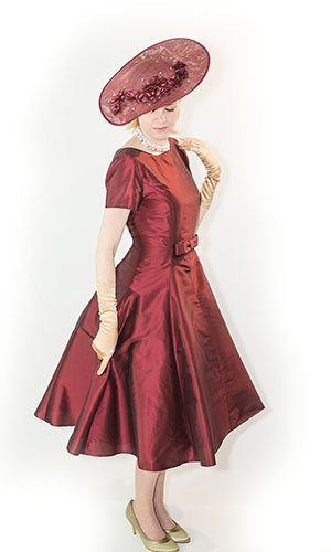 Burgundy Silk Mother of the bride dress PerrI Ashby
