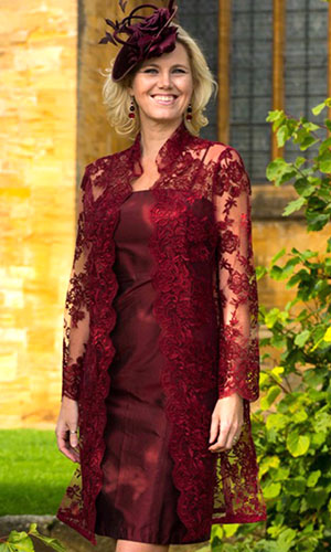 Red Lace Mother of the Bride Dress