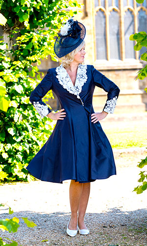 Navy blue silk dress mother of the bride