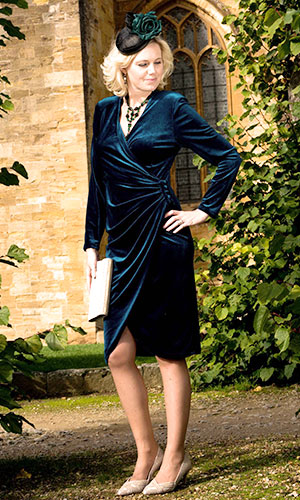 Navy blue silk velvet evening dress Perri Ashby