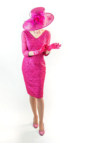 Pink Mother of the bride lace dress Perri Ashby