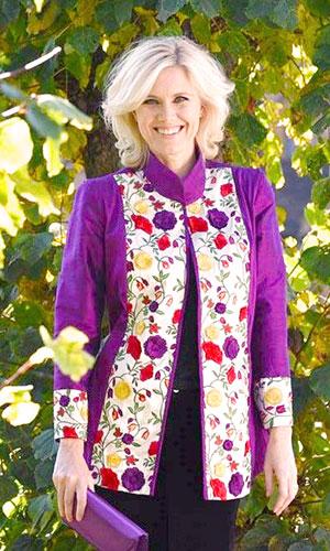 Purple Silk Kaftan with Flowers Perri Ashby
