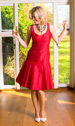 Red silk cocktail dress Perri Ashby