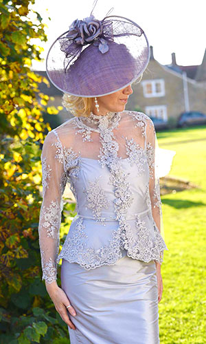 Silver Silk Lace Dress Perri Ashby Mother of the Bride