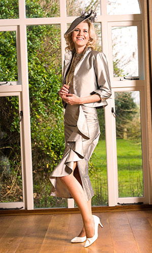 Silver Silk Lace Cocktail Dress Perri Ashby