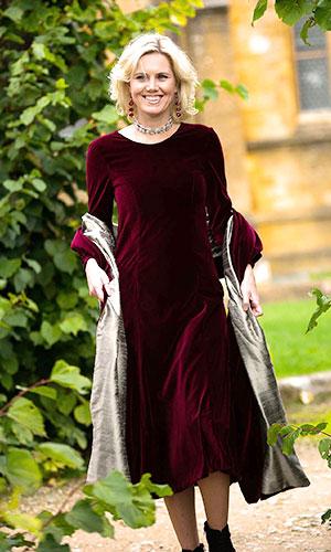 Burgundy Silk Velvet Occasion Wear Perri Ashby