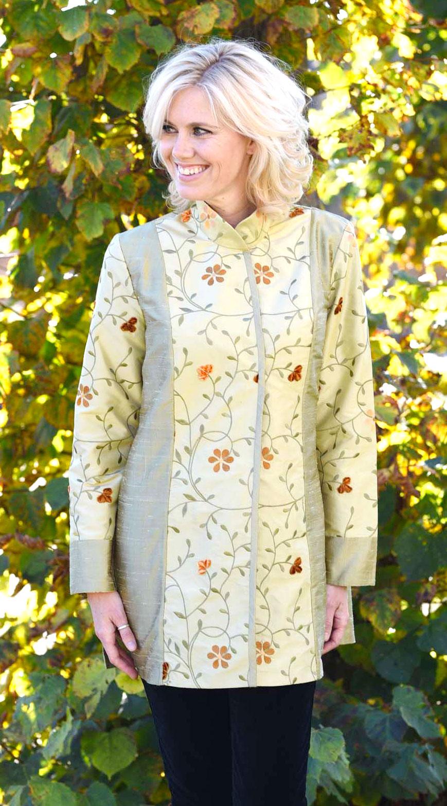 Yellow Grey Silk Kaftan Perri Ashby