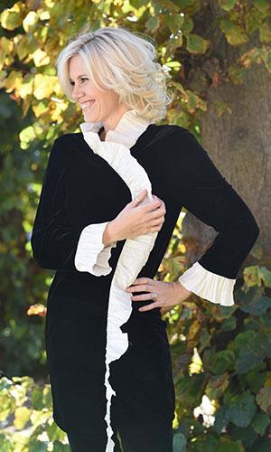 Black and white velvet jacket Perri Ashby