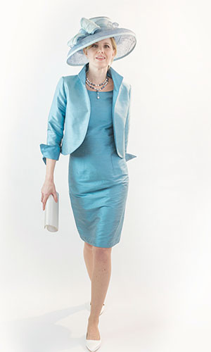 Blue Silk Occasion Dress