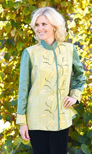 Green Yellow Silk Kaftan Perri Ashby