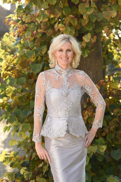 Silver Lace and Silk Mother of the Bride Dress