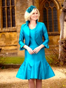 Blue silk jacket with high collar